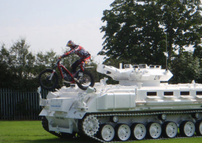 Dougie Lampkin Rides his bike over our tanks Tank Limo